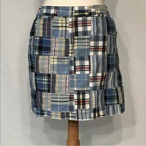 Larry Levine Blue Madras Plaid Pencil Skirt